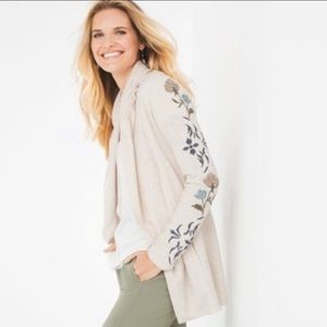 Zenergy | Open Cardigan Wrap Floral Embroidered